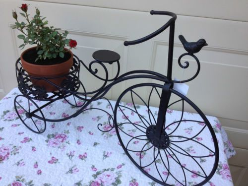 Wrought Iron Tricycle Pot Plant Holder Stand Garden Bicycle Outdoor Decoration Ebay