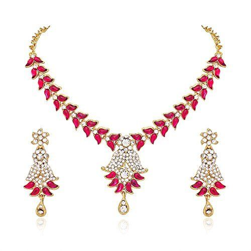 I Jewels Traditional Gold Plated Earring Set with Maang Tikka for Women TE118LW