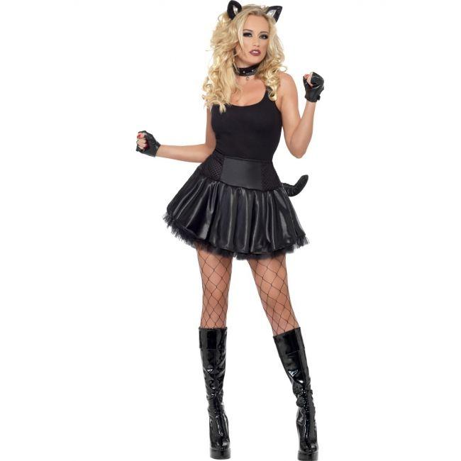 Party poes kostuum voor dames. Zwart sexy poezen jurkje met tutu, nekband  en oren