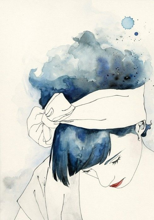 Blue Hair Watercolor Art Illustration Art Watercolor Art