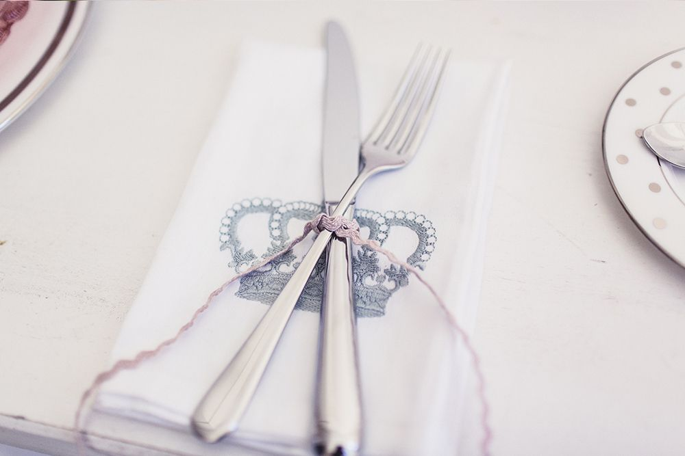 Cutlery tied with ric-rac ribbon
