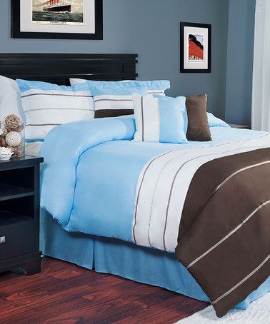Look what I found on #zulily! Light Blue & Brown Seven-Piece Avery Comforter Set #zulilyfinds