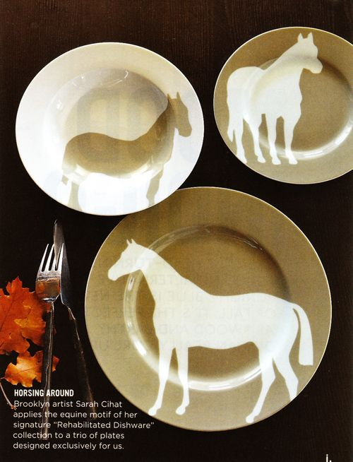Sarah Cihat for West Elm #dinnerware #plate #horse & Sarah Cihat for West Elm #dinnerware #plate #horse | Equestrian ...