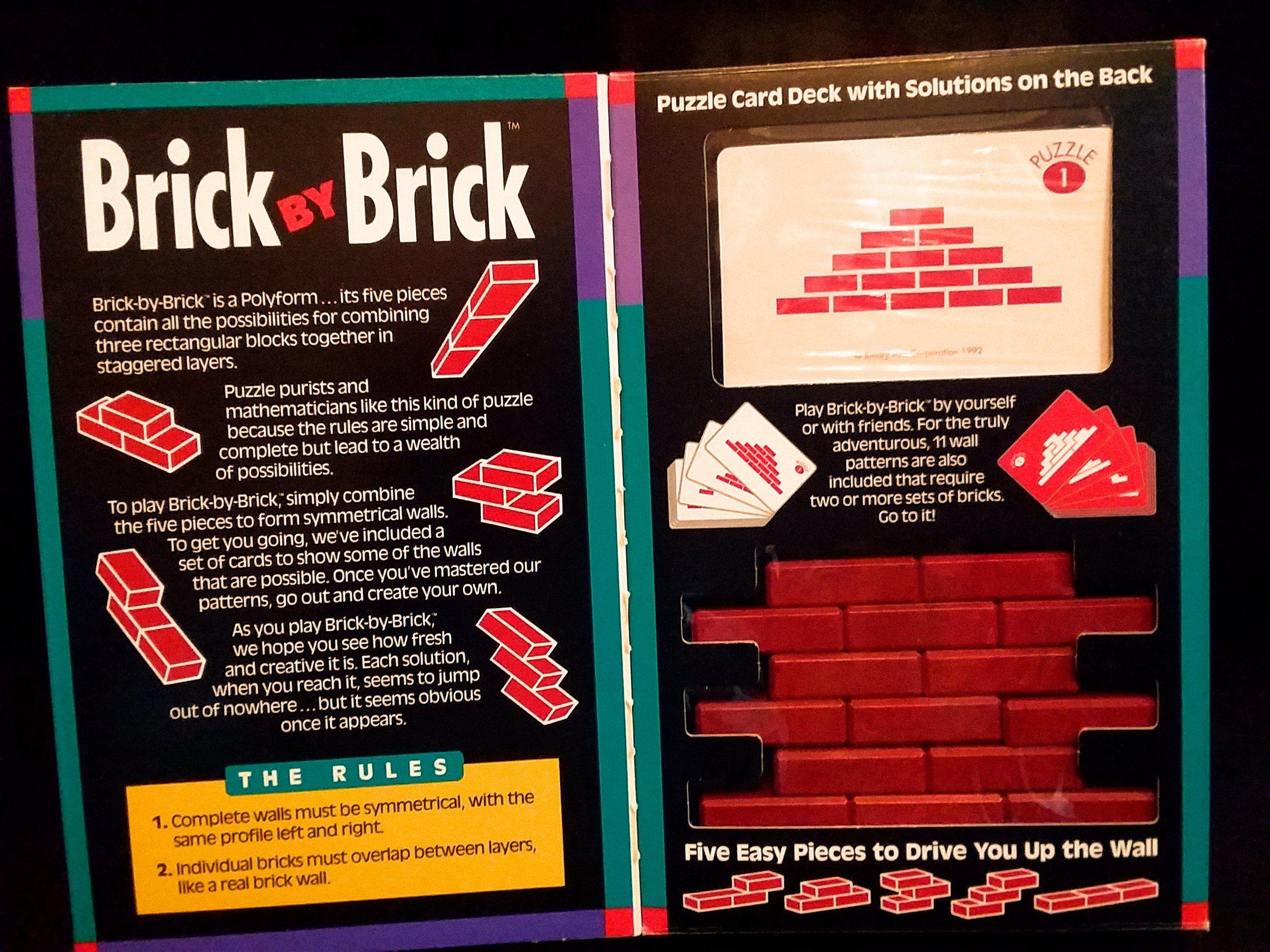 Vintage Brick By Brick Game Binary Arts Corp 1992 Brick Price Sticker Card Patterns