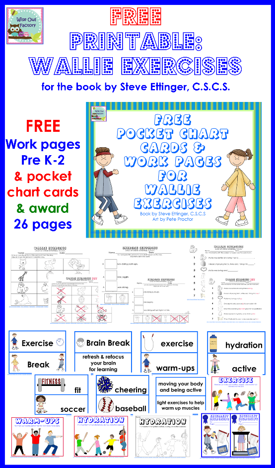 Free Printable Pocket Chart Cards And Work Pages To Supplement Wallie Exercises Kid Exercise Clroom