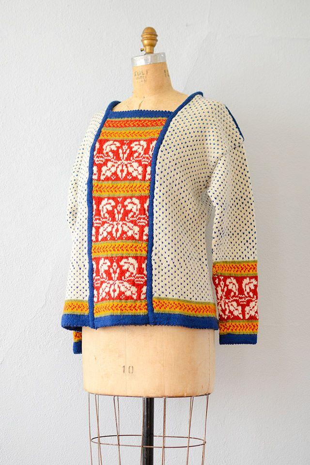 vintage 1970s contrast floral panel sweater