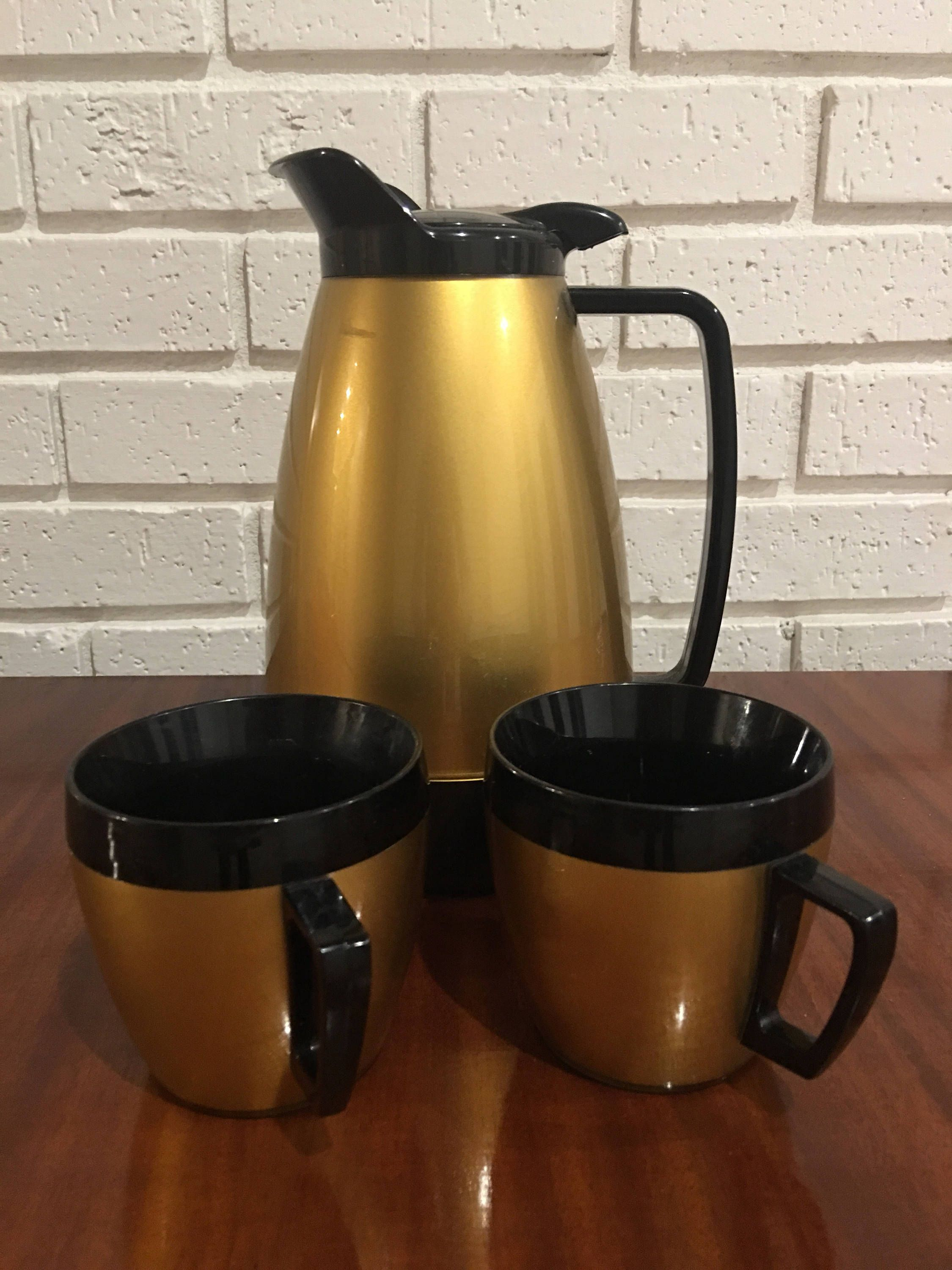 Thermo Serv Carafe and Coffee Cups by Granfalloons on Etsy