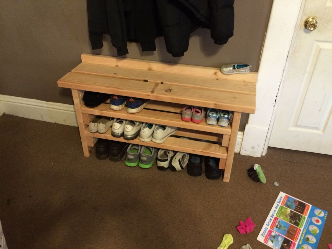simple shoe rack and bench 1 2x6 and 4 2x4 s diy on wood shoe rack diy simple id=91410