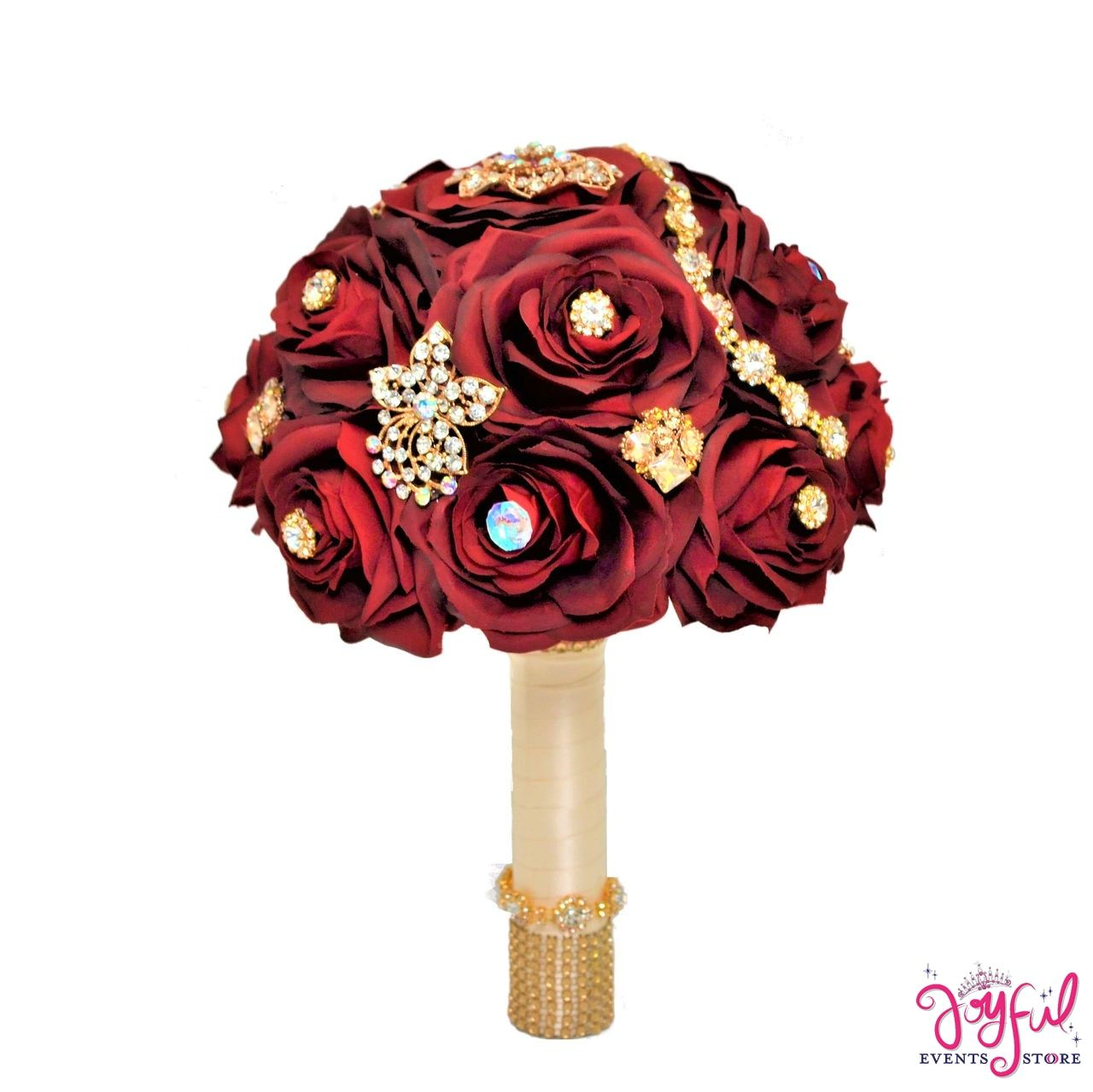 "11"" Silk Round Rose Flower Bouquet Embellished with"