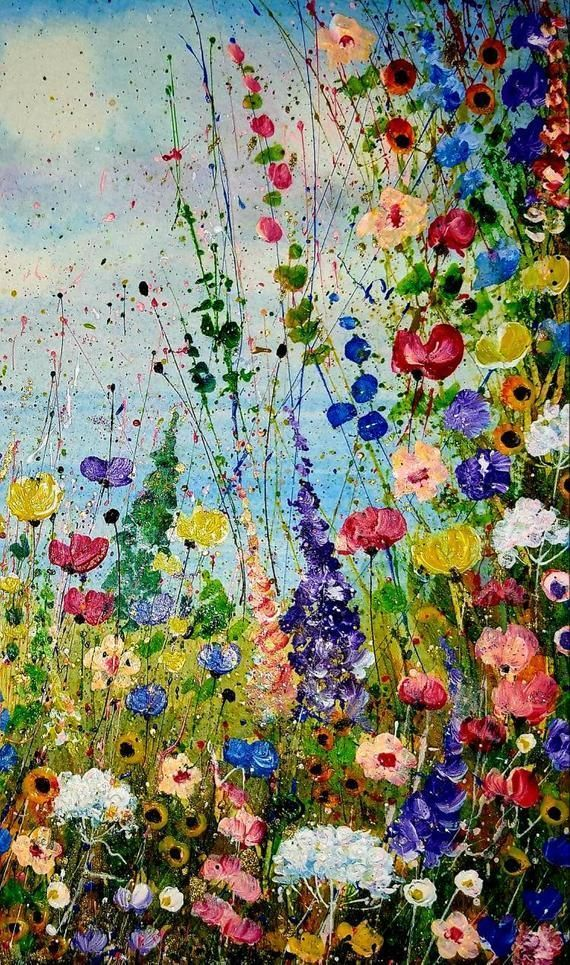 Original Floral Painting Mixed Media Wild Flowers Abstract Meadow Painting Field of Flowers Acrylic Splatter Art Contemporary Artwork #wildflowers