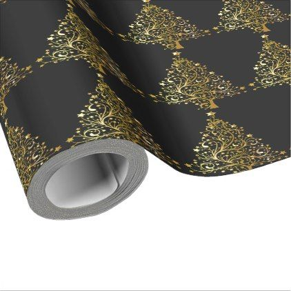 Christmas Tree Stars Black Gold Metallic Look Wrapping Paper - metallic style stylish great personalize