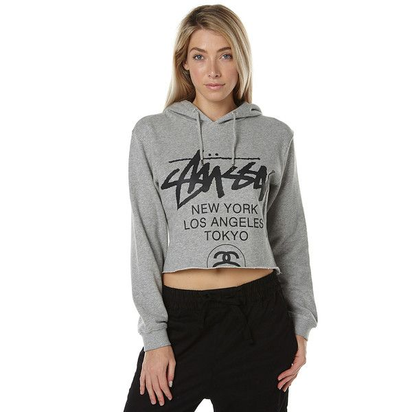Stussy Cities Womens Crop Hood (90 AUD) ❤ liked on Polyvore featuring tops,