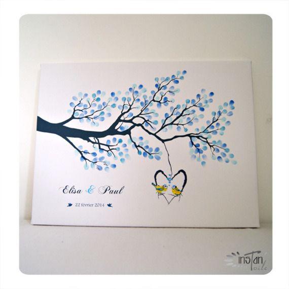 arbre empreintes branche et 2 oiseaux sur nichoir wedding pinterest empreinte. Black Bedroom Furniture Sets. Home Design Ideas