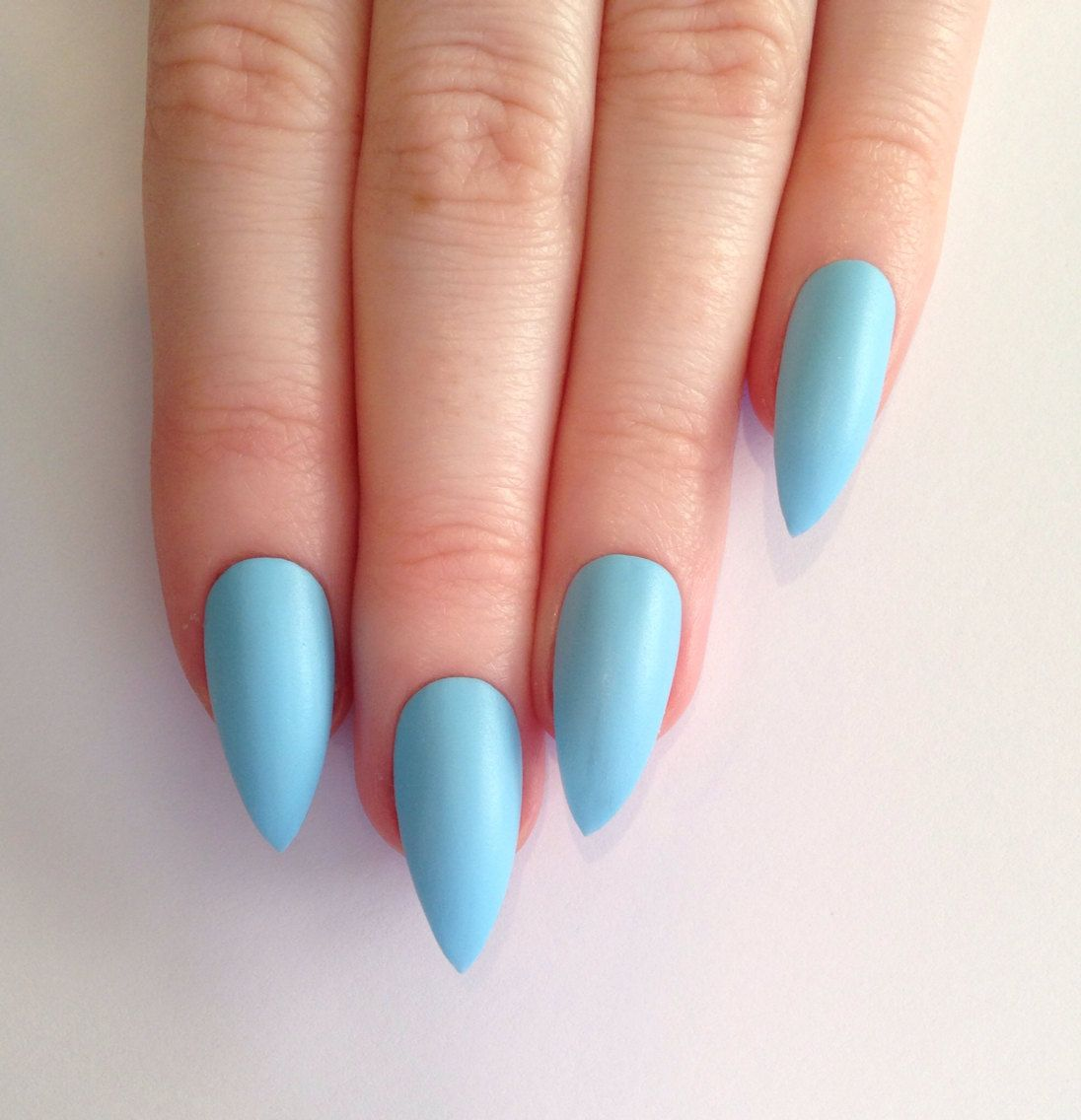 Stiletto Sky Blue Polish Pointy Nails Fake Nails Designs Simple Nails