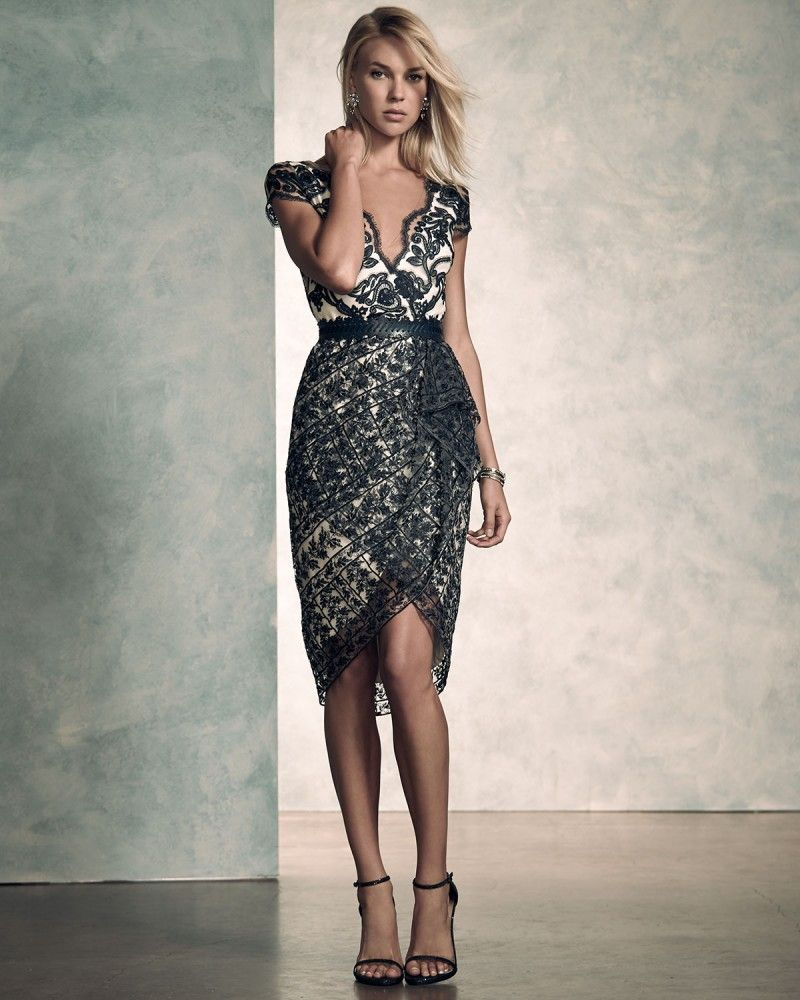 4dadfaca5b7 Marchesa Notte Short Sleeve Belted Lace Cocktail Dress