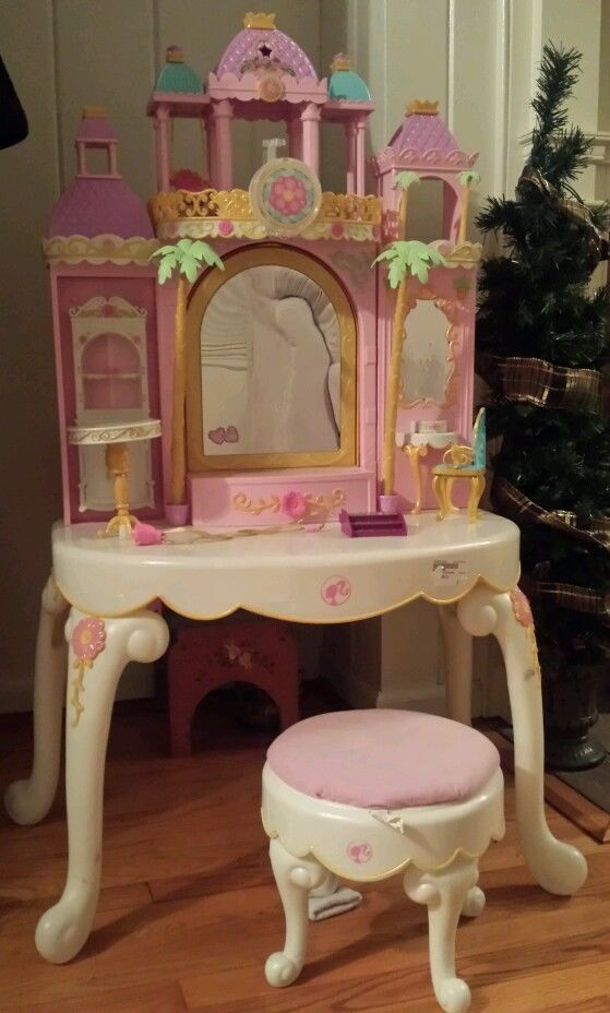 Barbie The Island Princess Magical Castle Vanity Play Set Pink Girl And Doll
