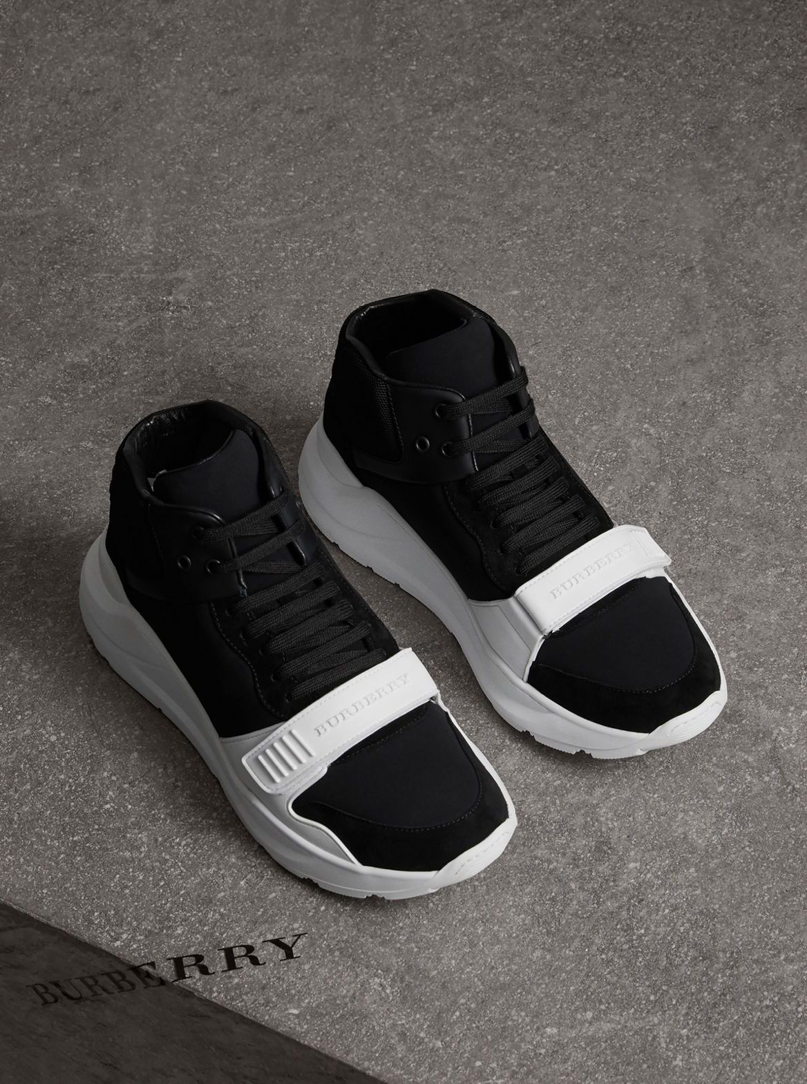 643feaa7e72  Burberry runway sneaker in a clash of textures – suede