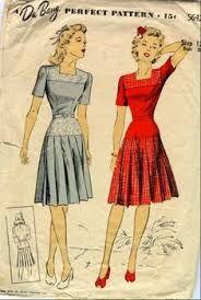 1940-1949 Patriotic colors were often worn due to World War 2. Women worked