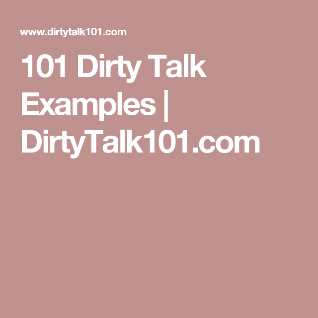 Example of dirty talks in bed