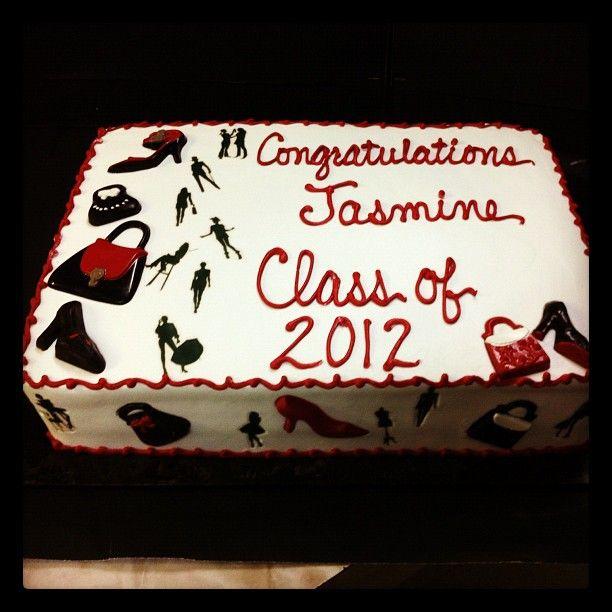 Graduation sheet cake for a future fashion designer. chocolate shoes and purses, edible image model silhouettes