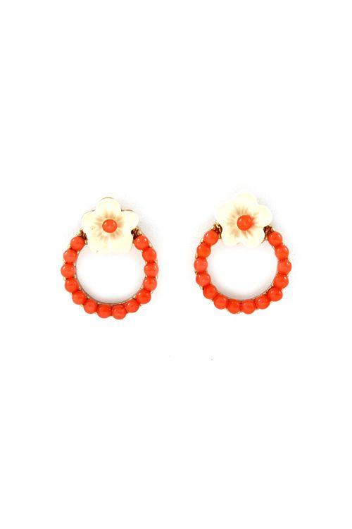 coral wreath earrings