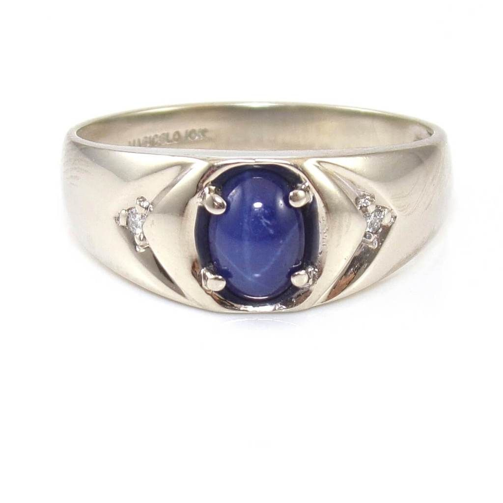 Magic Glo 10k White Gold Blue Star Sapphire Diamond Ring Size 10 25 Sapphire Diamond Ring Blue Star Sapphire Size 10 Rings