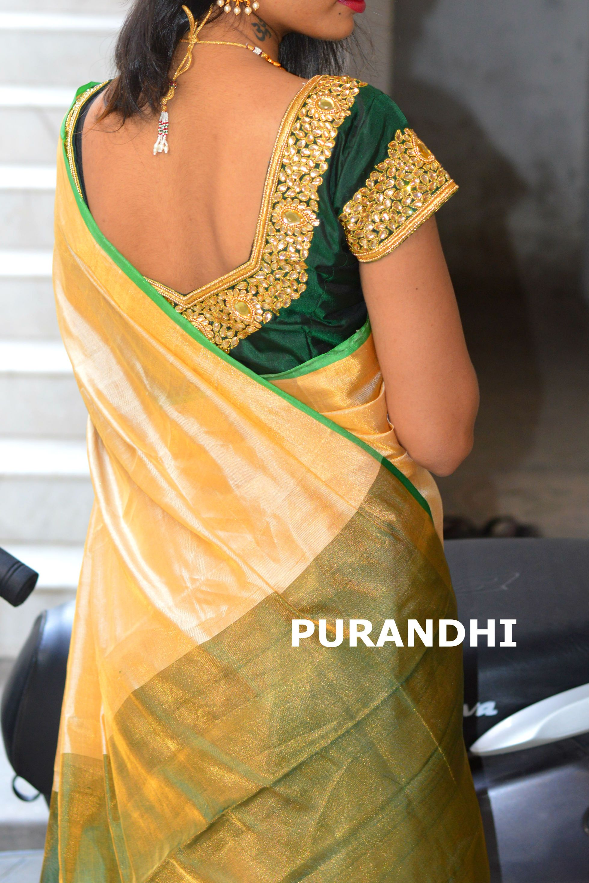 dda80c508c18ed Cream and bottle green uppada pattu saree comes with contrast green blouse  and pallu
