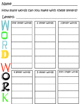 Word Work - Building Words Worksheet | Classroom Ideas | Pinterest ...