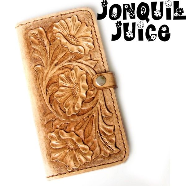 new product 5399c 8ceac Hand Tooled Tan Leather iPhone Case - Western Style floral folio ...
