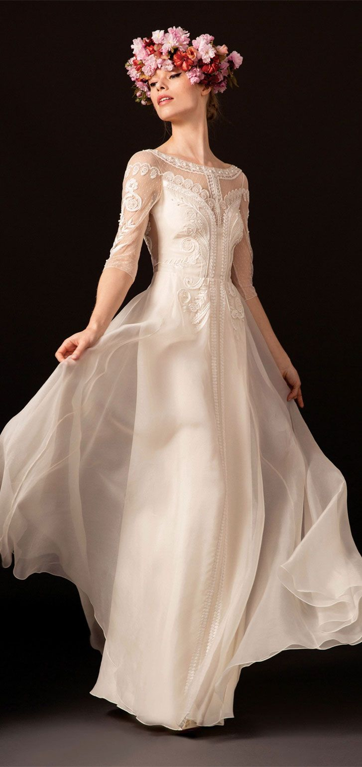 Elegant tulle and organza embroidered gown 3/4 length sleeves boat neckline column wedding dress #wedding #weddinggown #weddingdresses