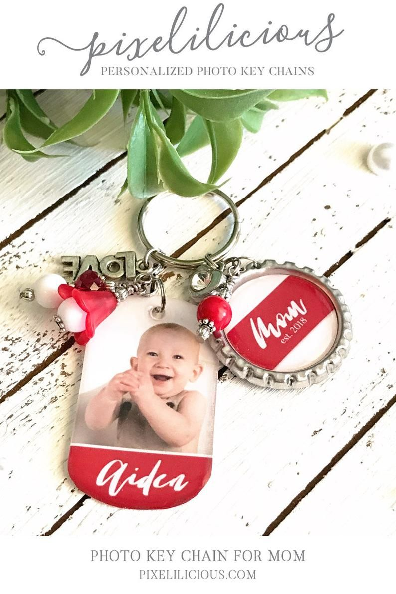 Beaded Key Ring Custom Purse Accessory Charm Mini Dog Tag Key Chain Gift for Grandma Personalized Photo Keychain for Her New Mom Gift
