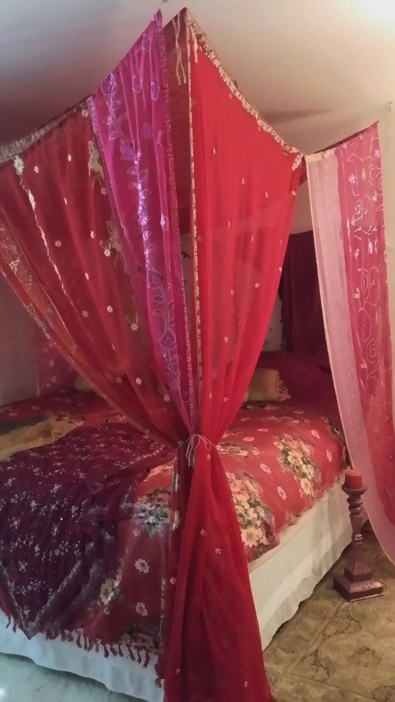 Boho Bed Canopy Gypsy beaded Arabian Nights MADE TO ORDER Hippie Hippy HippieWild India Sari Saree & Boho Bed Canopy Gypsy beaded Arabian Nights MADE TO ORDER Hippie ...
