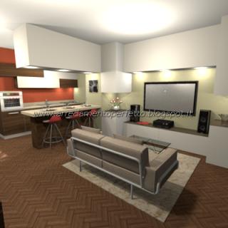 Cucina soggiorno dopo i lavori in cartongesso il living in finta muratura by consigli d 39 arredo - Lavori in cartongesso in cucina ...