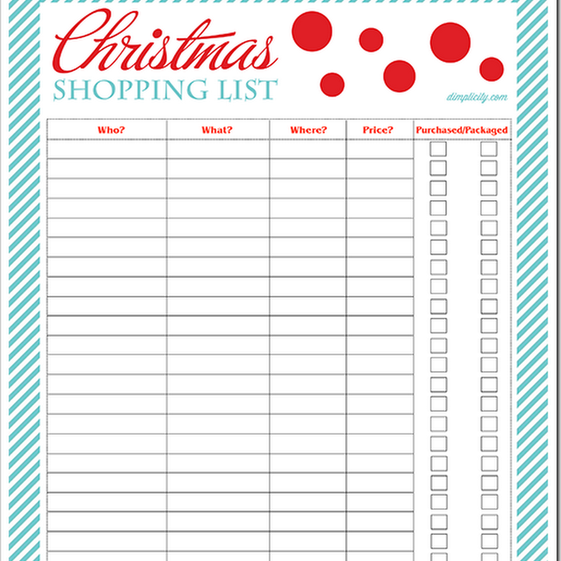 Dimplicity  Crafty Blog Christmas Shopping List Free Printable