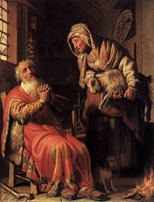REMBRANDT Harmenszoon van Rijn  (b. 1606, Leiden, d. 1669, Amsterdam)  Tobit Accusing Anna of Stealing the Kid  1626  Oil on panel, 40 x 30 cm  Rijksmuseum, Amsterdam