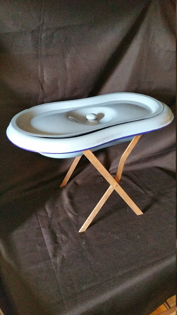 RESERVED FOR DONNA - Antique French Blue Enamel Baby Bath Basin ...