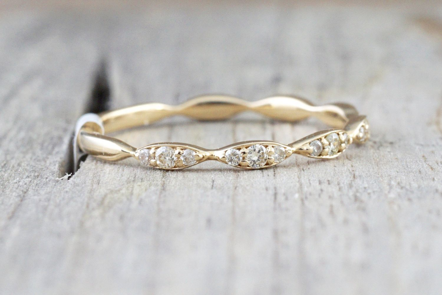 14kt Yellow Gold Diamond Ring Marquis Design Antique Crown