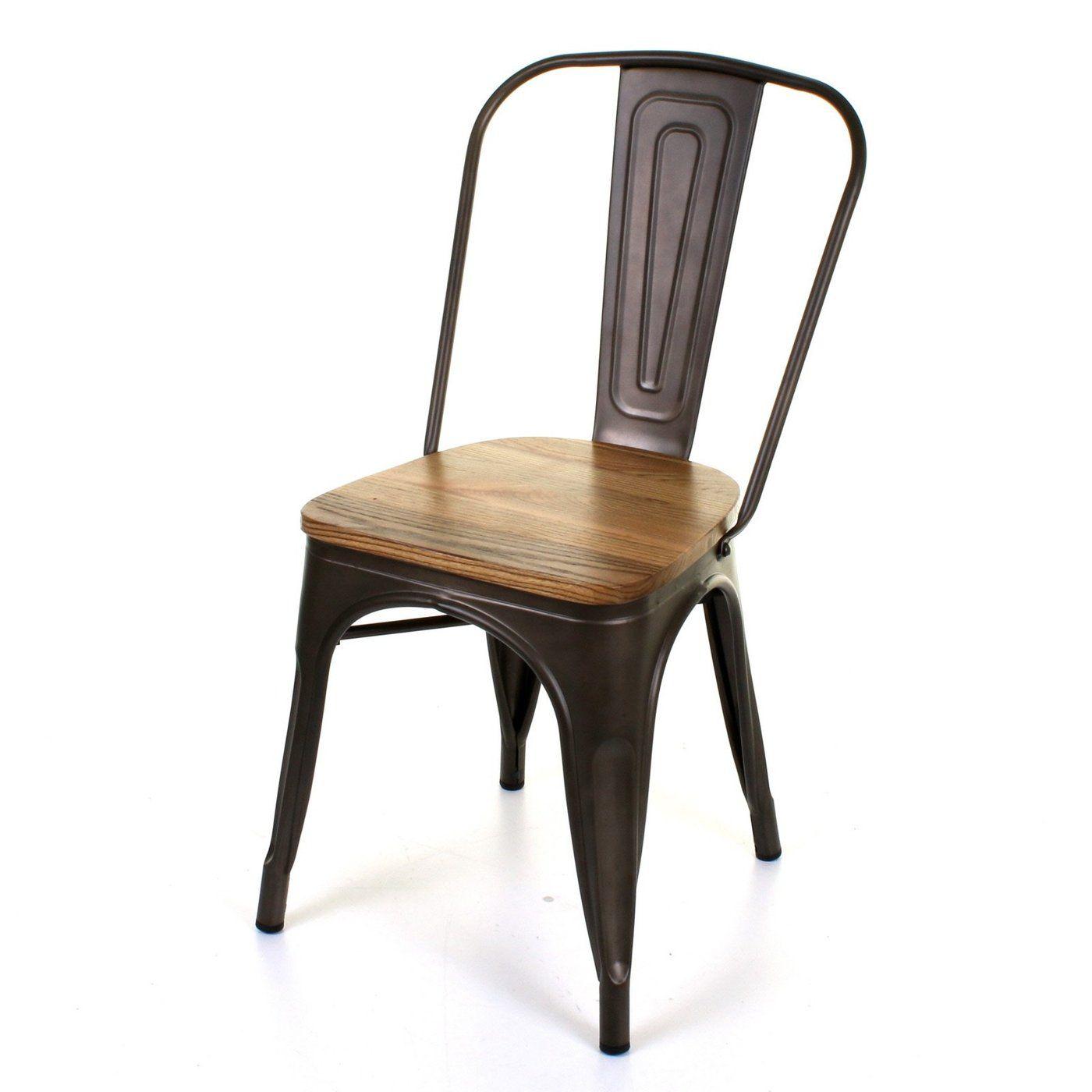 Set Of 4 Gun Metal Industrial Dining Chair Kitchen Bistro Cafe Vintage Wood  Seat U2013 JMart Warehouse