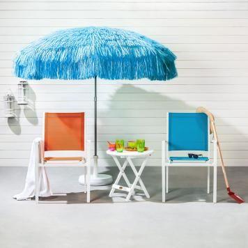 Gartenstuhl Sonny (2er-Set) - Aluminium/Textil Weiß/Orange