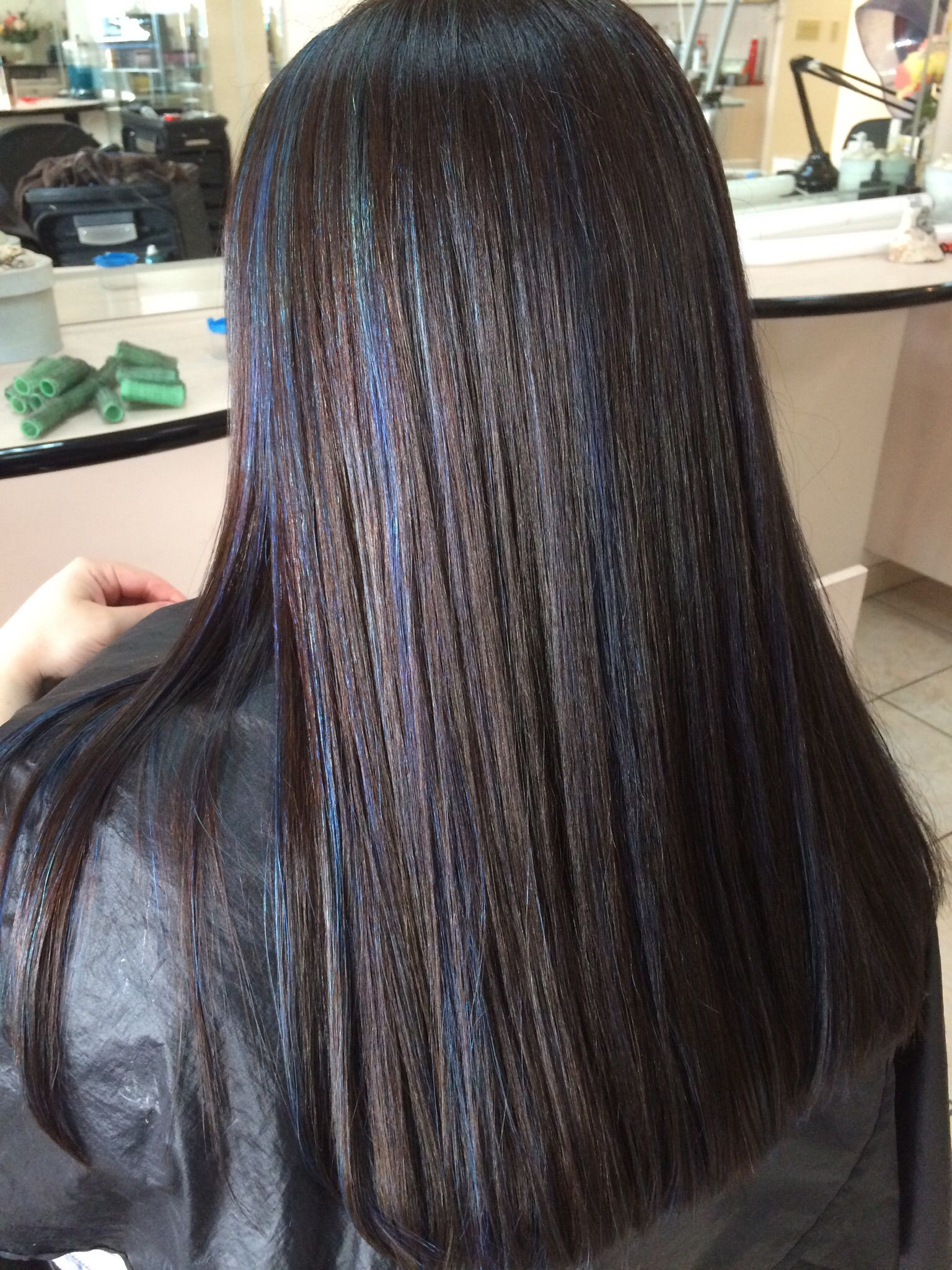 Dark Brown Hair With Blue Highlights Blue Hair Highlights Brown Hair Blue Highlights Hair Color Streaks