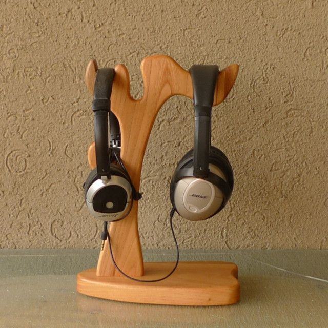 Tree Shape Nature Wood Headphone Stand For Double Headphone Set Hanger Home Wood Crafts In Wood Crafts F Wood Headphones Headphone Stands Diy Headphone Stand