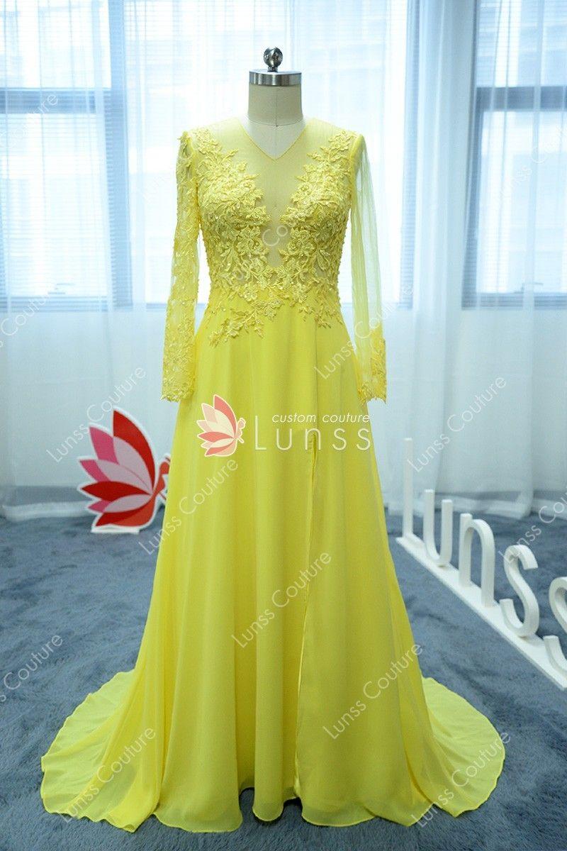 6e6133b209b daffodil chiffon with illusion lace appliqued long sleeve A line prom dress