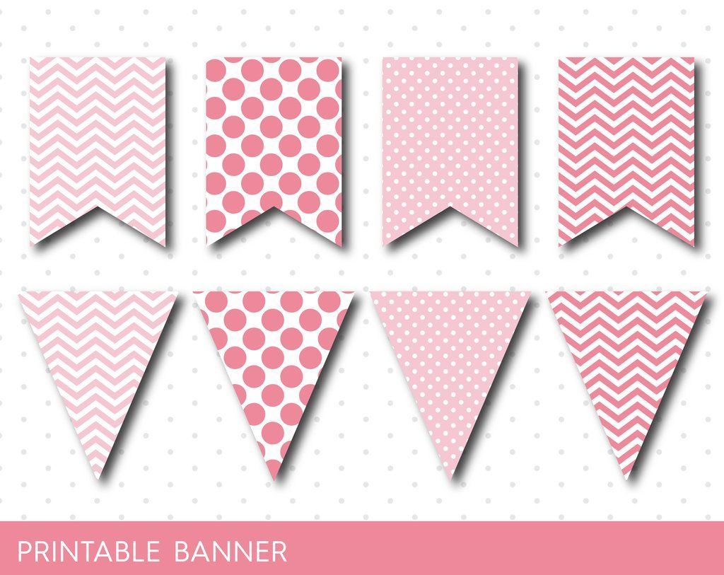 Pink Party Banner Birthday Baby Shower Blank Triangle Boy Girl PB 15