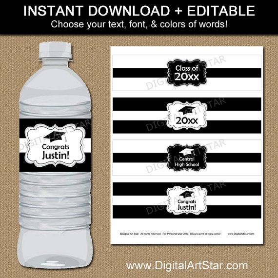 Black and White Graduation Water Bottle Labels by digitalartstar - water bottle label template