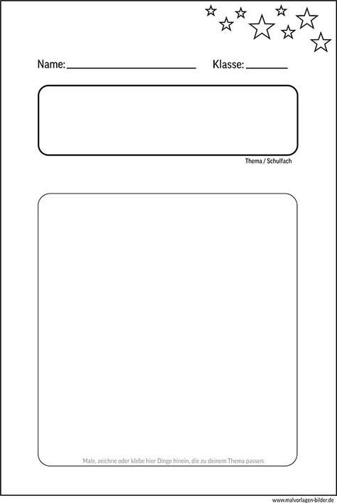 Deckblatt Vorlage für die Schule   kostenlos | Unterricht