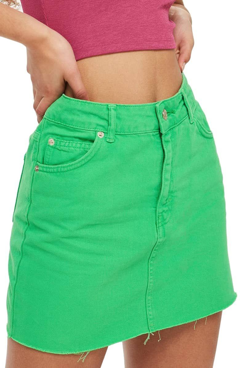 a524de62fb MOTO High Waist Denim Skirt, Main, color, LIME | skirts | High ...