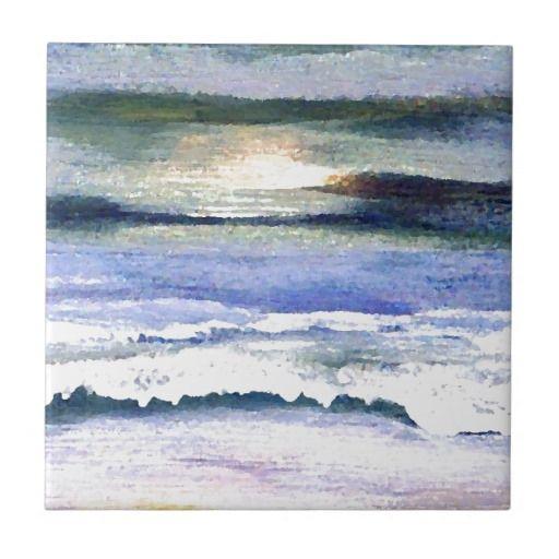 Twilight Ocean Waves Beach Surf Decor Art Ceramic Tile Zazzle Com Surf Decor Sailboat Art Wave Painting