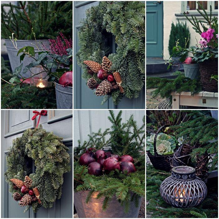 Simplicity outdoor christmas decoration murgröna, granris, rödlök