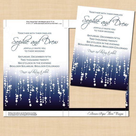 Print Wedding Invitations At Home: Blue Star Streamers Wedding Invitation Template (5x7