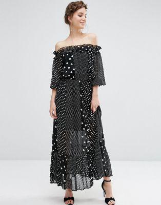 ASOS Off Shoulder Maxi Dress In Polka Dot